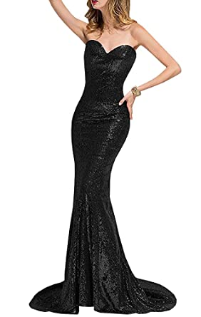 EverLove Bridesmaid Dresses Train Sequins Sweetheart Mermaid Style Prom Dress Black US2