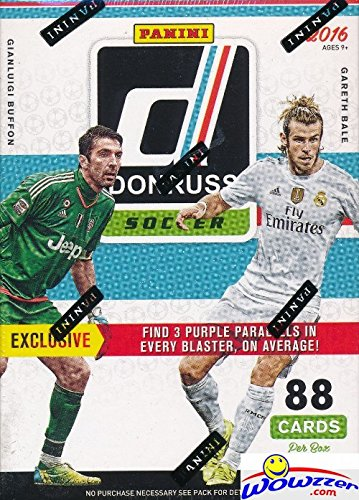 Quad Autograph - 2016-17 Panini Donruss Soccer HUGE Factory Sealed Blaster Box with 88 Cards including EXCLUSIVE PURPLE PARALLELS! Look for Cards & Autographs from Lionel Messi, Ronaldo, Neymar,Gareth Bale & Many More