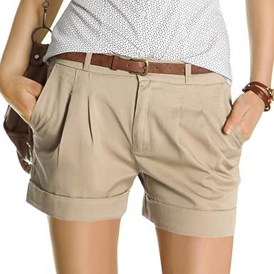 1af4b87f10c1eb Bestyledberlin Damen Shorts, kurze Chino Hosen, Damenhosen, Bundfaltenhosen  j161p 36/S beige