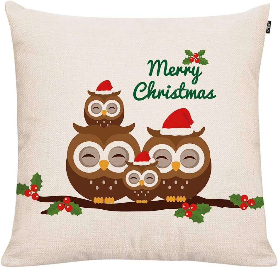 GTEXT Christmas Throw Pillow Cover Holiday Decor OWL Pillow Cover Cuhion Cover Case for Couch Sofa Home Decoration Pillows Linen 18 X 18 Inches