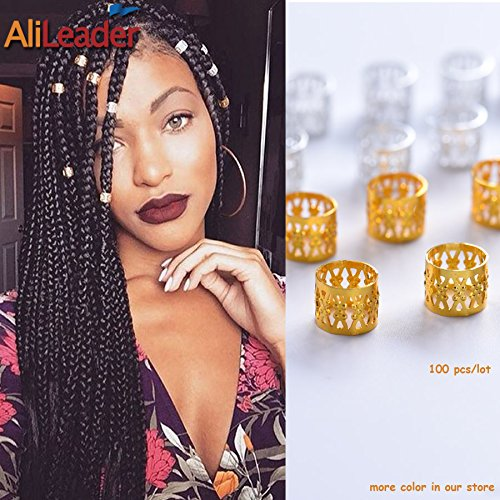 Mixed Golden Silver Dreadlock Beads for Hair Adjustable No Rust Aluminum Metal Cuffs Beads 8.5mm 100pcs Braiding Hair Decoration Jewelry by AliLeader (Mixed Golden (25g Jewelry)