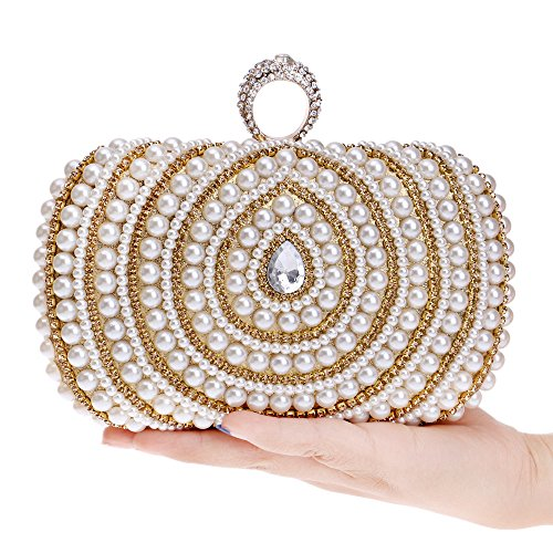 Clutches Handbags Wedding Women's Purse Bridal Party Evening Black Pearl for Bags wqCqZz