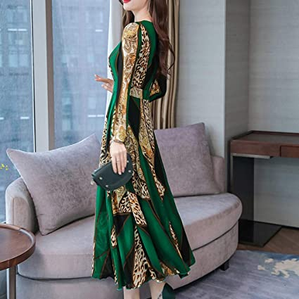 ZEZKT damska sukienka maxi, sukienka koktajlowa z kwiatowym wzorem w stylu boho, w stylu vintage, rockabilly, z dekoltem w kształcie litery O, rozciągliwa, S-3XL: Odzież