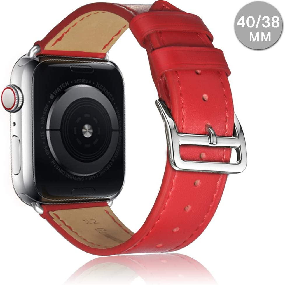 Compatible with Apple Watch Leather Band 42mm 44mm 38mm 40mm | Genuine Leather Replacement Band | Series 5 4 3 2 1 (Classic-Red, 44mm/42mm)