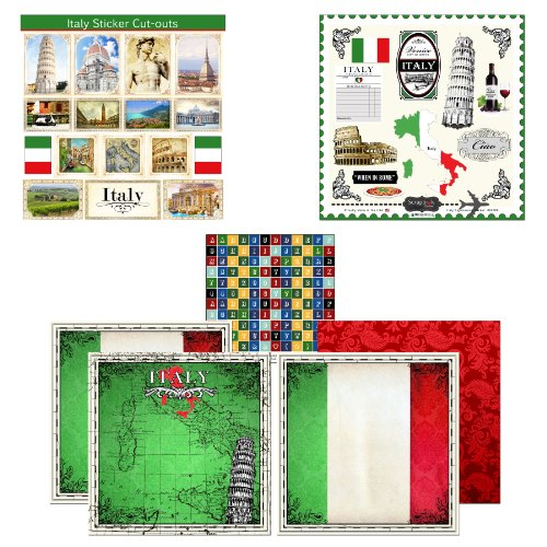 (Scrapbook Customs Themed Paper and Stickers Scrapbook Kit, Italy)