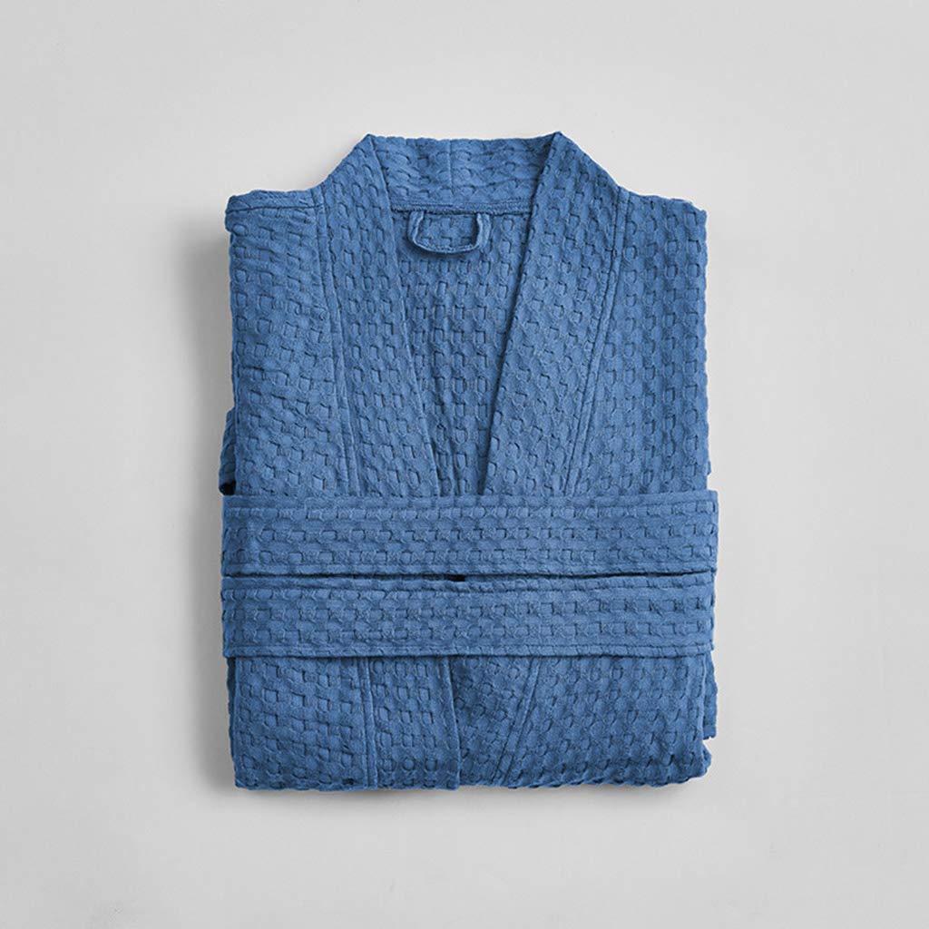 bluee Fashion bathrobe Men and Women Cotton bathrobe Spring and Summer Absorbent Couple bathrobe Thin Section Robe