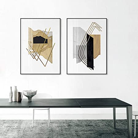 zxddzl Impresión en Lienzo Amarillo Pintura Abstracta Cartel ...