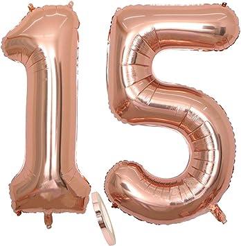 """2 globos número 15, Number 15 globo rosa y dorada para niña, 40"""" Figuras inflables de globos de oro y helio, hojalata globo dorado para decoración de fiesta de cumpleaños, graduación (xxxl 100 cm)"""