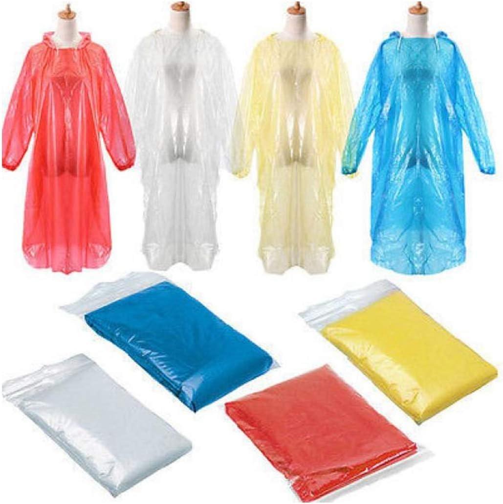 Yliquor 40Pcs Disposable Raincoat Adult Emergency Waterproof Rain Coat Poncho with Hood Plastic Clear Rain Gear for Hiking Camping Fishing