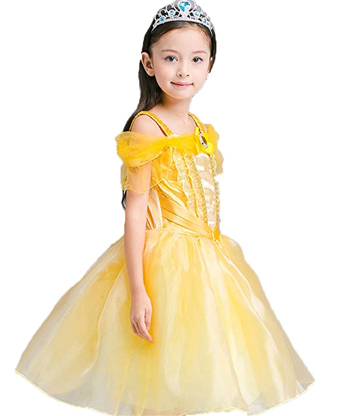 Kids Little Girls New Princess Halloween Costume Cosplay Belle Dress Paty Dress  Long Dresses: Amazon.co.uk: Clothing