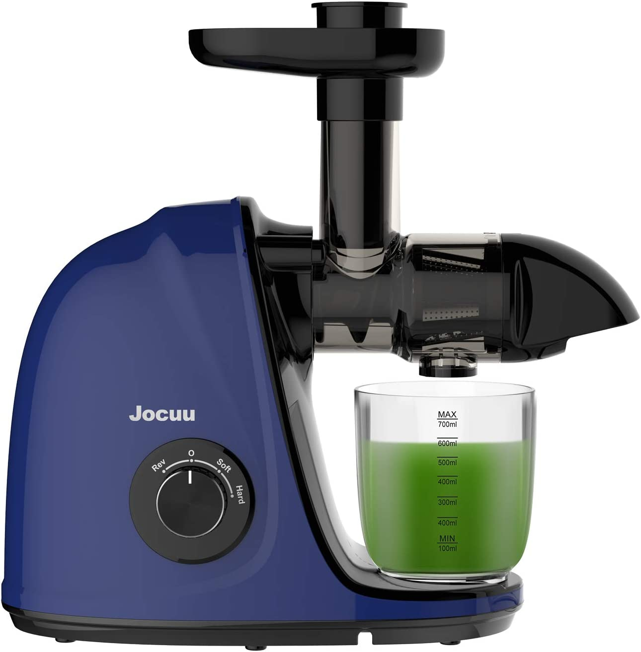 Jocuu Slow Masticating Juicer Machine, Cold Press Juice Extractor Easy to Clean, Soft/Hard Dual-Speed Quiet Motor Reverse Function Anti-Clogging, with Brush & Recipe (Premium Blue)
