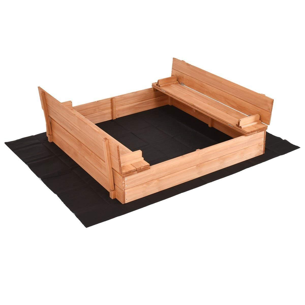 Costzon Kids Foldable Cabana Sandbox with 2 Convertible Benches & 1 Piece Black Non-woven Fabric Cloth (47-Inch)