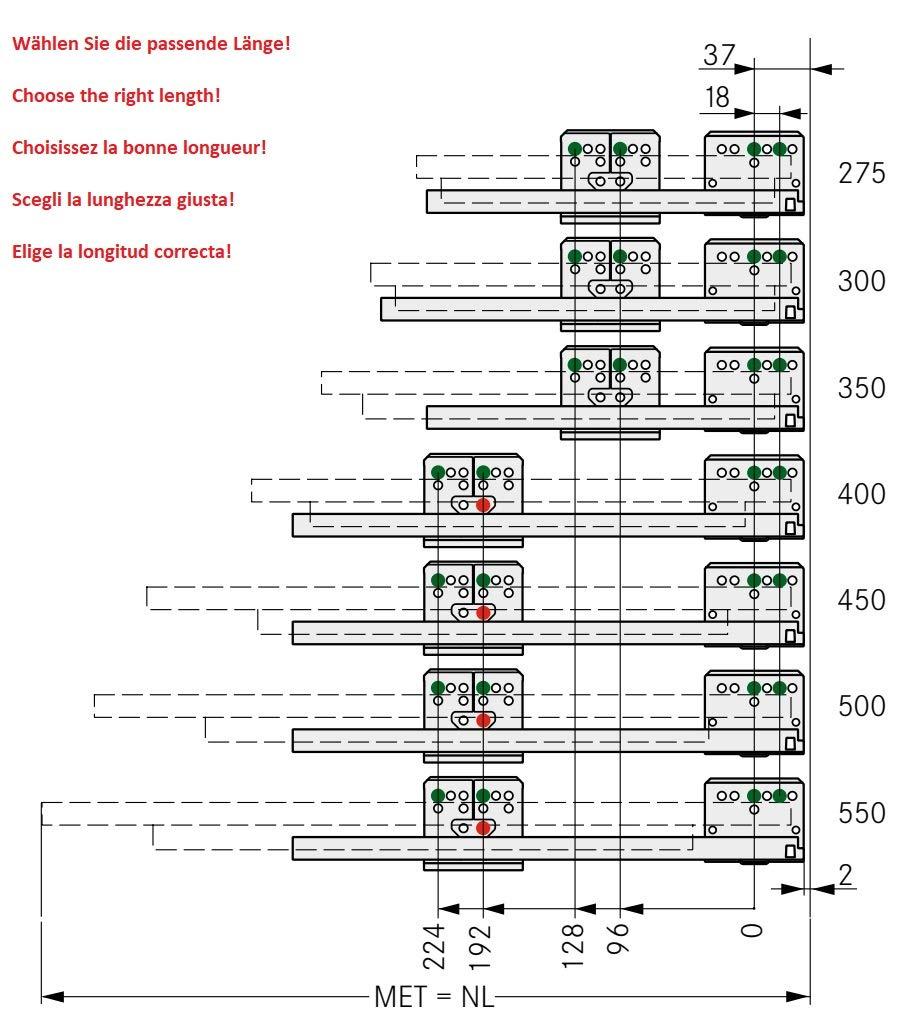 ged/ämpft GRASS Vollauszug Korpusschienen 500mm synchronisiert 40kg F/ührungen f/ür den Schubkasten DWD-XP Dynamic XP von UMAXO/®