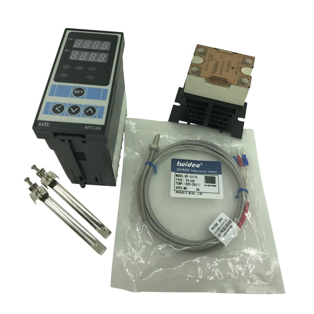 Twidec MTC49 PID Temperature controller, 90-240VAC, 0-400 °C, Input:PT100, Output: SSR(DC12V);PT100 screw probe, probe lead length 2M(78.74 inches);TH-40DA SSR 40A;Black heat sink