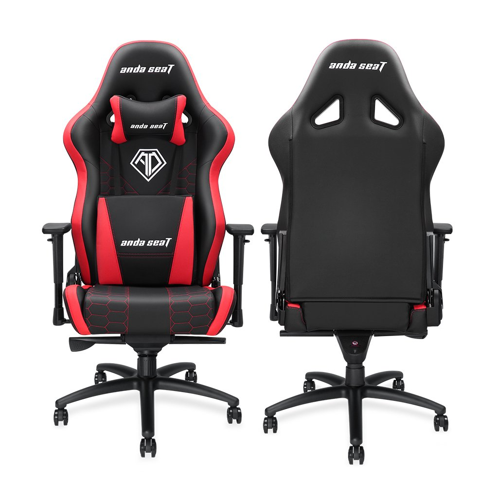 [Large Size Big and Tall 400lb Gaming Racing Chair] Anda Seat Spirit King High Back Computer Office Desk Executive Swivel Chair with Adjustable Headrest and Lumbar Support, Easy Assembly - Black/Red by Anda seat (Image #6)