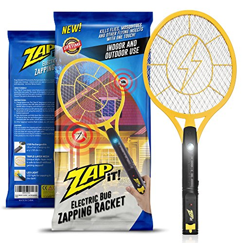 Electric Bug Swatter (Zap-It! Bug Zapper - Rechargeable Mosquito, Fly Killer and Bug Zapper Racket - 3000 Volt - USB Charging, Super-Bright LED Light to Zap in the Dark - Unique 3-Layer Safety Mesh That's Safe to Touch)