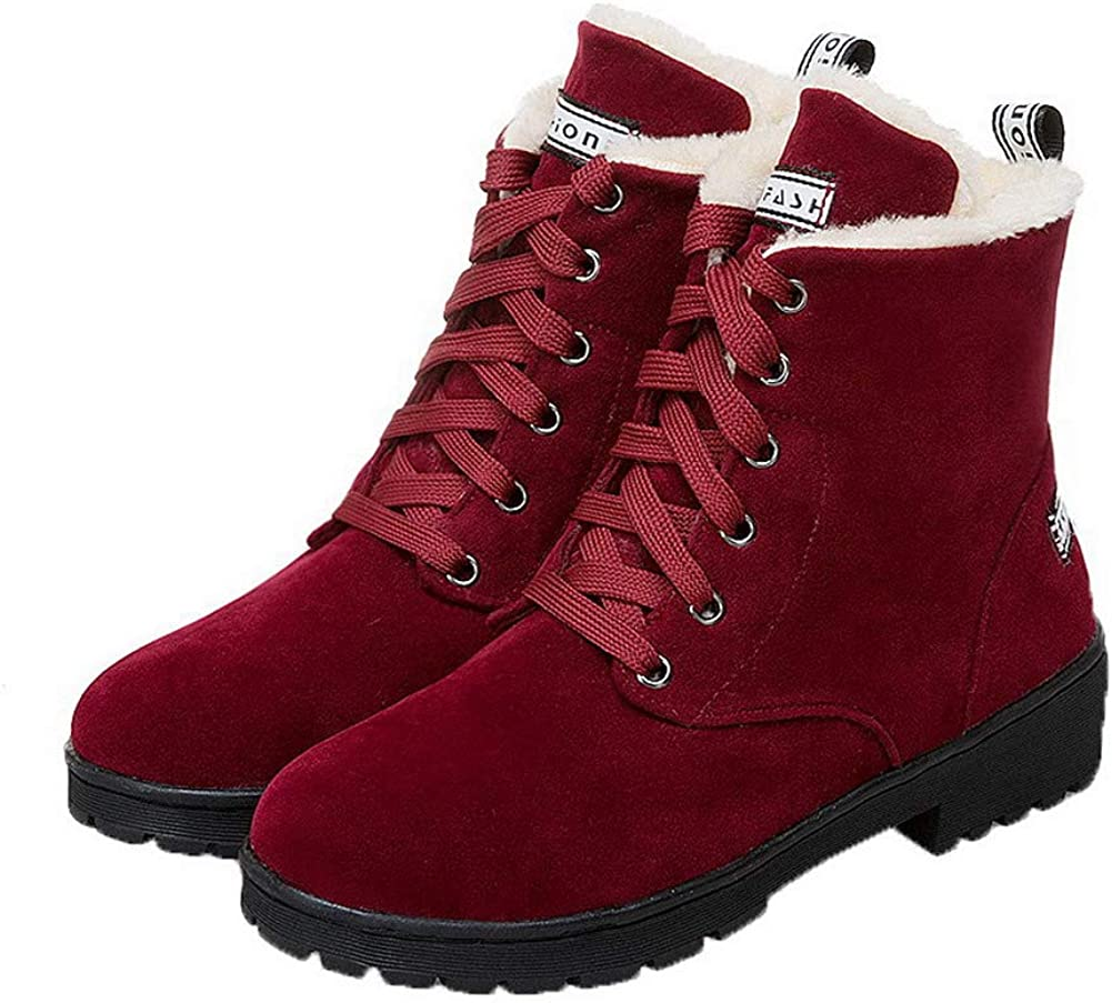 EGHXG106300 WeiPoot Womens Frosted Low-Top Solid Lace-Up Low-Heels Boots