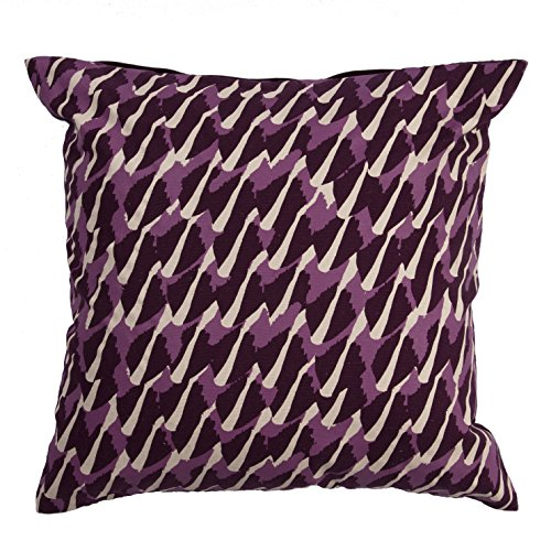 Jaipur Abstract Pattern Purple Cotton and Polyester Polly Fill Pillow, 20-Inch x 20-Inch, Grape Wine Ng-8 ()