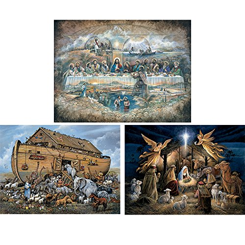 Bits and Pieces - Set of Three (3) 500 Piece Jigsaw Puzzles for Adults - Noah's Ark, Last Supper, in The Manger - 500 pc Religious Scenes Jigsaws by Artist Ruane Manning