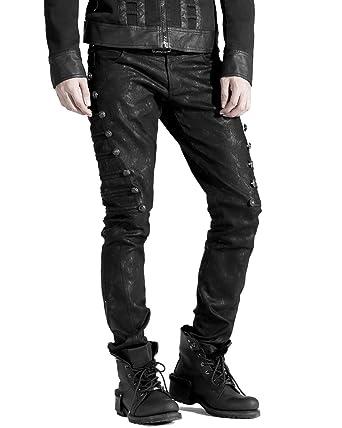 286928f3e1 Punk Rave Mens Dieselpunk Military Jeans Pants Black Gothic Steampunk  Trousers