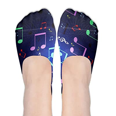 Low Cut Socks Colorful Musical Notes Images Printed Casual No-show Liner Invisible Polyester Cotton Sock For Girls & Womens , One Pair