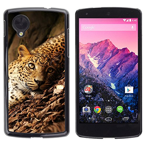 KOKO CASE / LG Google Nexus 5 D820 D821 / leopard rainforest big wild cat green eyes / Slim Black Plastic Case Cover Shell Armor