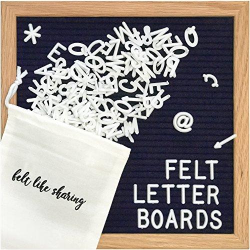 Navy Felt Letter Board 10x10 Inches. Changeable Letter Boards Include 300 White Plastic Letters & Oak Frame. -