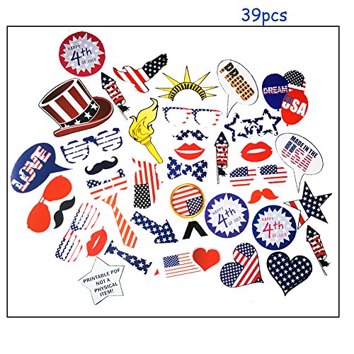 Trelemek 39pcs 7th of July Party Props Memorial Day,Veteran's Day Decorations Funny Patriotic Photo Booth Props from