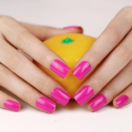 Art plus 24 LED de color fucsia juego de uñas postizas manicura ...