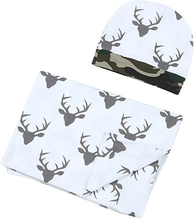 924925ecf30 Mikrdoo Newborn Infant Baby Boy Girl Deer Swaddle Blanket +Hat Boy Coming  Home Cotton Bath