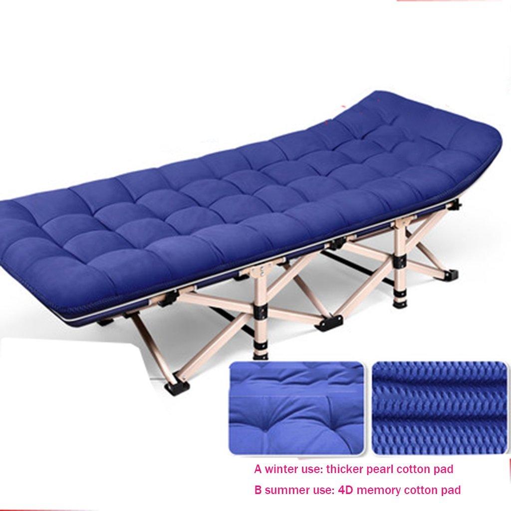 Ren Chang Jia Shi Pin Firm Intensive Office Folding Bett  Herrenchen Schlummern Bett Einfache Tuch Bett Camping Bett Perle Baumwolle Pad 190  75  36 cm (Farbe : grau)