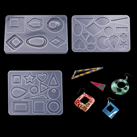 iSuperb 2 pi/èces Moules en R/ésine Silicone Moules Bijoux Fabrication de Moules Resin Molds pour DIY Boucles doreilles Pendentifs Colliers Artisanat 2 Moules
