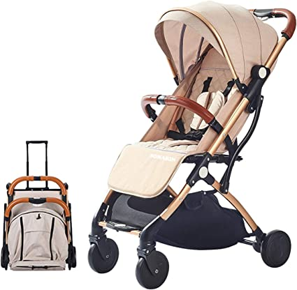 LETTAS Compact Fold Stroller Travel Lightweight Pram Buggy Pushchair Easy for Plane with Five-Point Harness Adjustable Backrest Oversize Hood