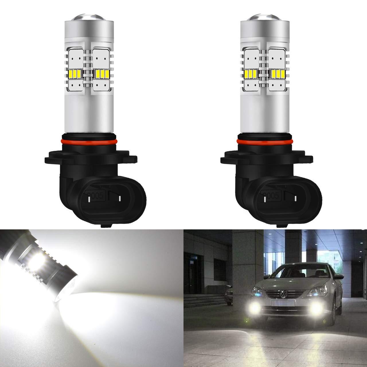 KaTur 2pcs 1800LM Extremely Bright 9005/HB3 Fog Drving Light DRL Fog Light, 360 Degree Led Car Driving Light Fit for Daytime Running Light or Fog Lights Replacement White