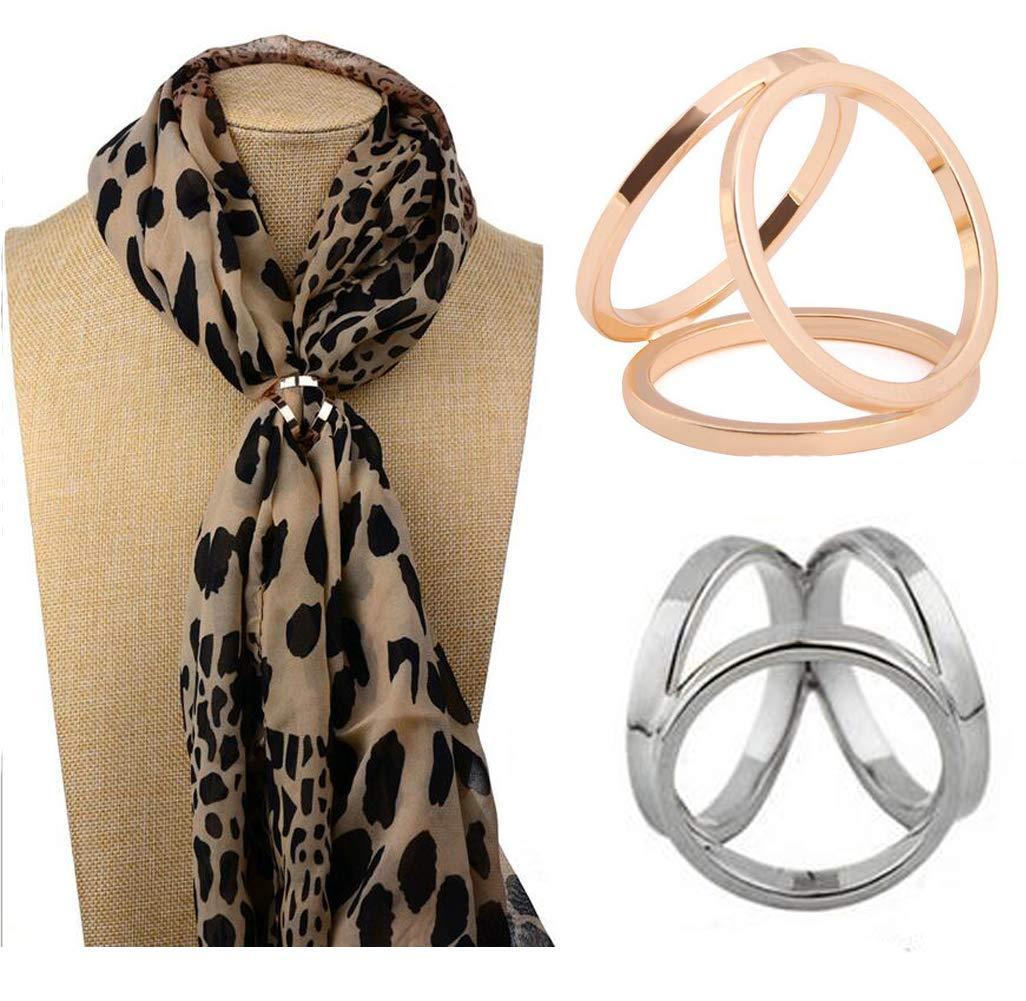 2PCS (Golden + Silver) Frauen-Dame-Mädchen-drei Ring-Art- und Weiseschal-Ring-Wölbungs-moderne einfache dreifache Dia-Schmuck-Silk Schal-Haken-Klipp-Kleidungs-Verpackungs-Halter
