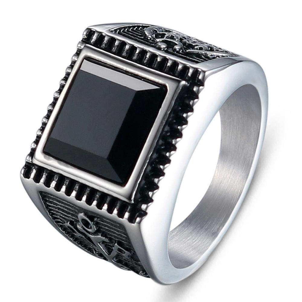 Dixinla Rings Steel , European and American Fashion Retro Men Inlaid Black Zircon Stainless Steel Anchor Ring Jewelry Gift for Family or Friends