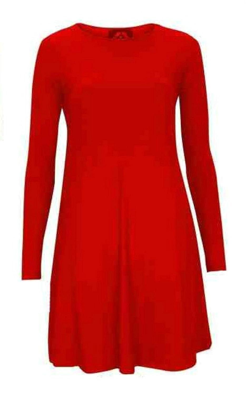 Women/'s Ladies Plain Long Sleeve Party Skater Swing Dress UK Sizes 8-26