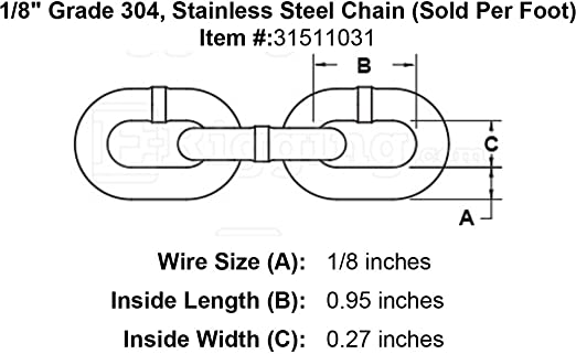 Sold Per Foot 3//16 Stainless Steel Chain