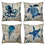 Ocean Park 4pcs Throw Pillow Cover Sea Theme Marine Animal Set Outdoor Beach Decorative Sofa Bench Cushion Covers Coastal Theme 18''x 18'' Burlap
