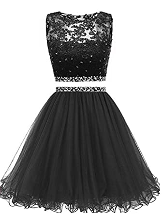 Women s Lace 2 Piece Prom Dresses Short for Juniors Beaded Homecoming Party Gowns  2018 Black0 f898d2d8e