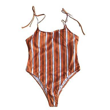 a88bf77631 Jimmkey One Piece Women O Neck Thong Bikini Monokini Swimsuit Swimwear  Bathing Beachwear Summer Beach Bandage Swimsuit Halter Loaded T-Shirt  Stretch Vest ...