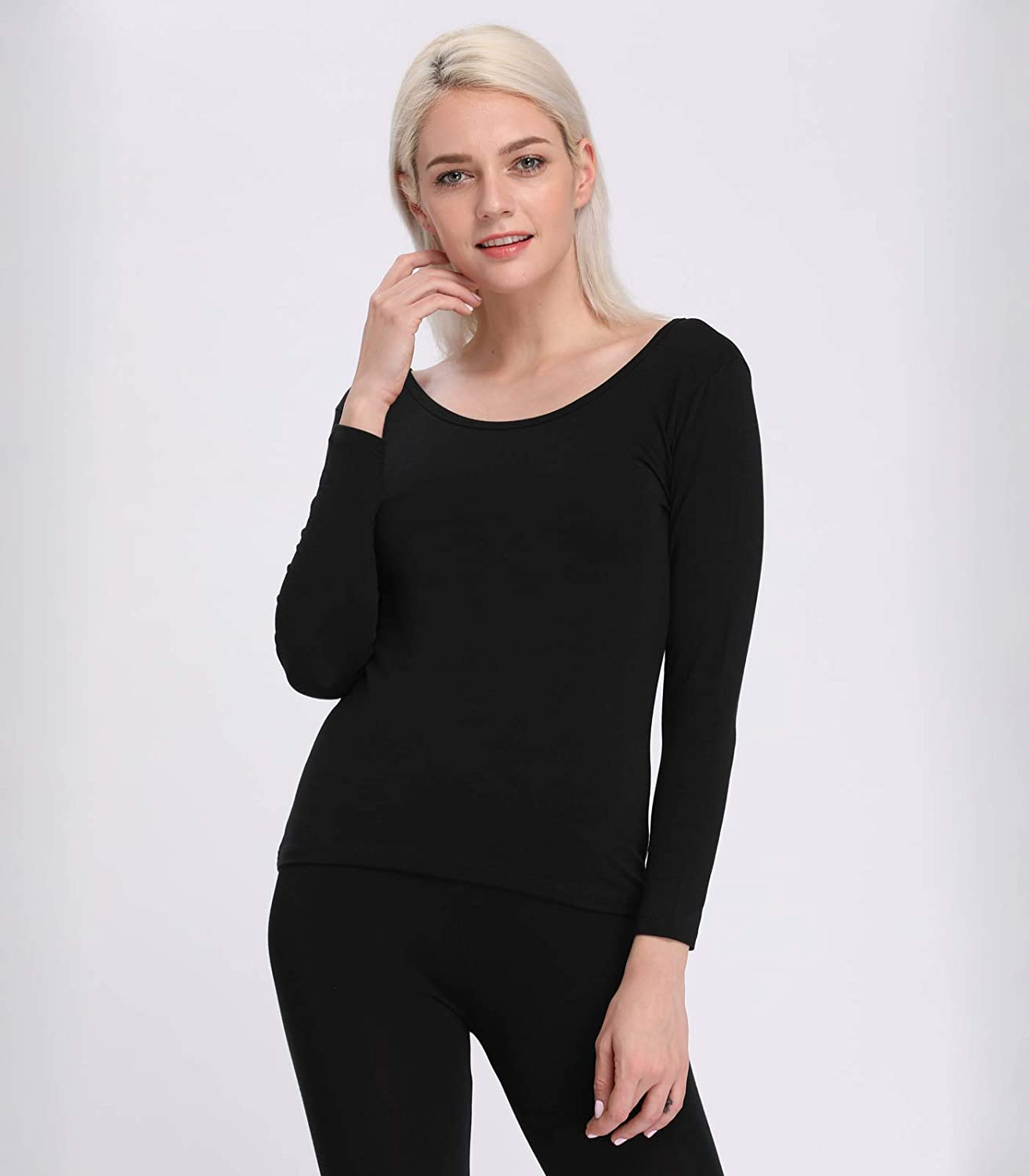 Liang Rou Womens Thermal Scoop Neck Shirt