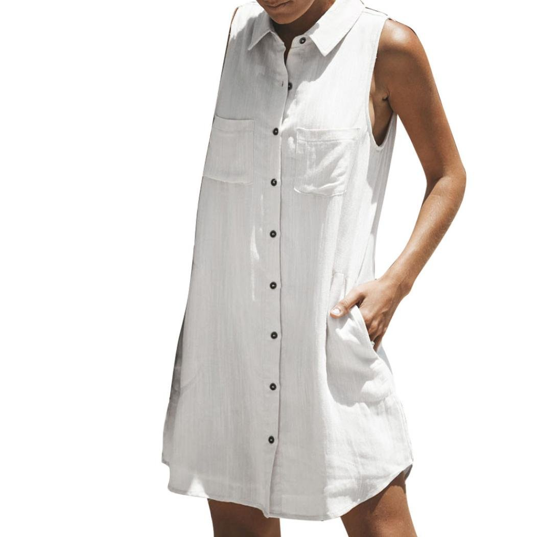 JYC Verano Falda Larga, Vestido De La Camiseta Encaje, Elegante Casual, Vestido Fiesta Mujer Largo Boda, Señoras Llanura Botón Bolsillo Clubwear Vestidos: ...