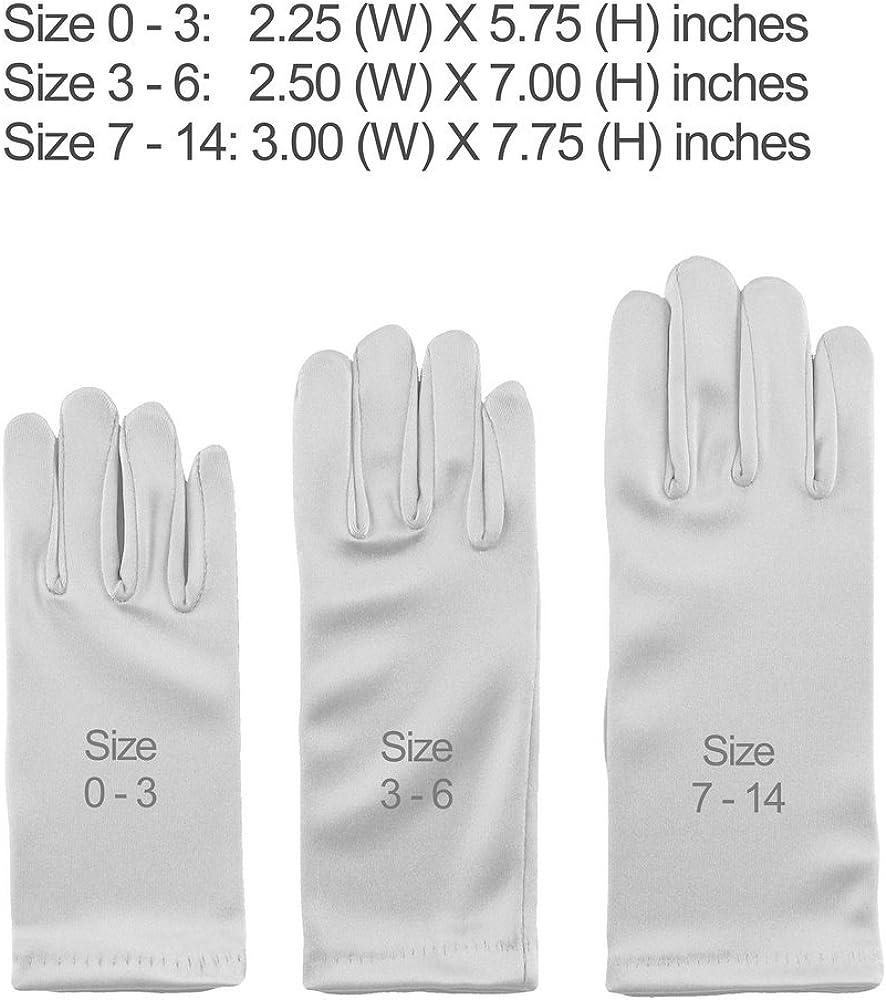 Girls Wrist Length//Below Elbow Length Stretch Satin Gloves Three Sizes Each