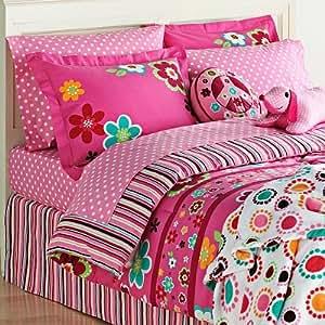 Amazon Com Bright Pink Girls Flowers Twin Comforter