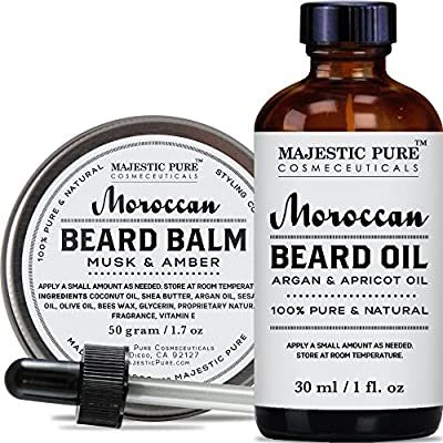 Best Cheap Deal for Majestic Pure Beard Oil & Beard Balm Set, (1.7 oz + 1 oz) - All Natural Beard Conditioner - Style, Shape and Moisturize Beard, Mustache & Skin, Great Gifts For Men from Majestic Pure - Free 2 Day Shipping Available