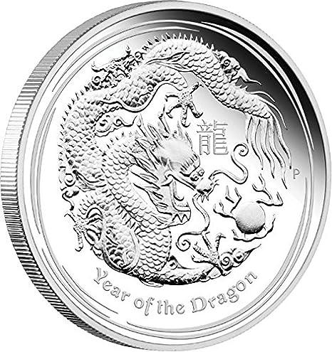Australia 2012 Year Dragon Lunar GILDED $1 1 Ounce Pure Silver in FULL OGP w CoA