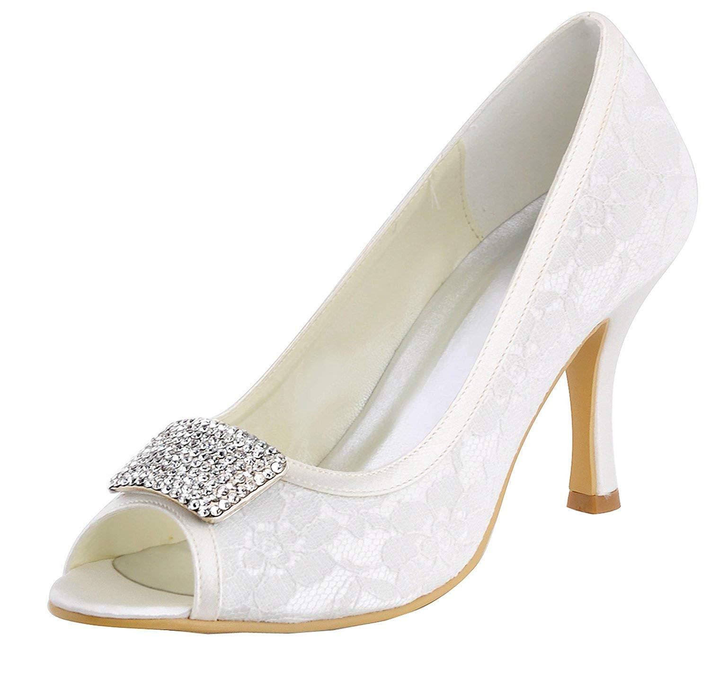 Qiusa Mädchen High Heel Lace Braut Hochzeit Sandalen Abend Party Schuhe (Farbe   Weiß-7.5cm Heel Größe   6.5 UK)