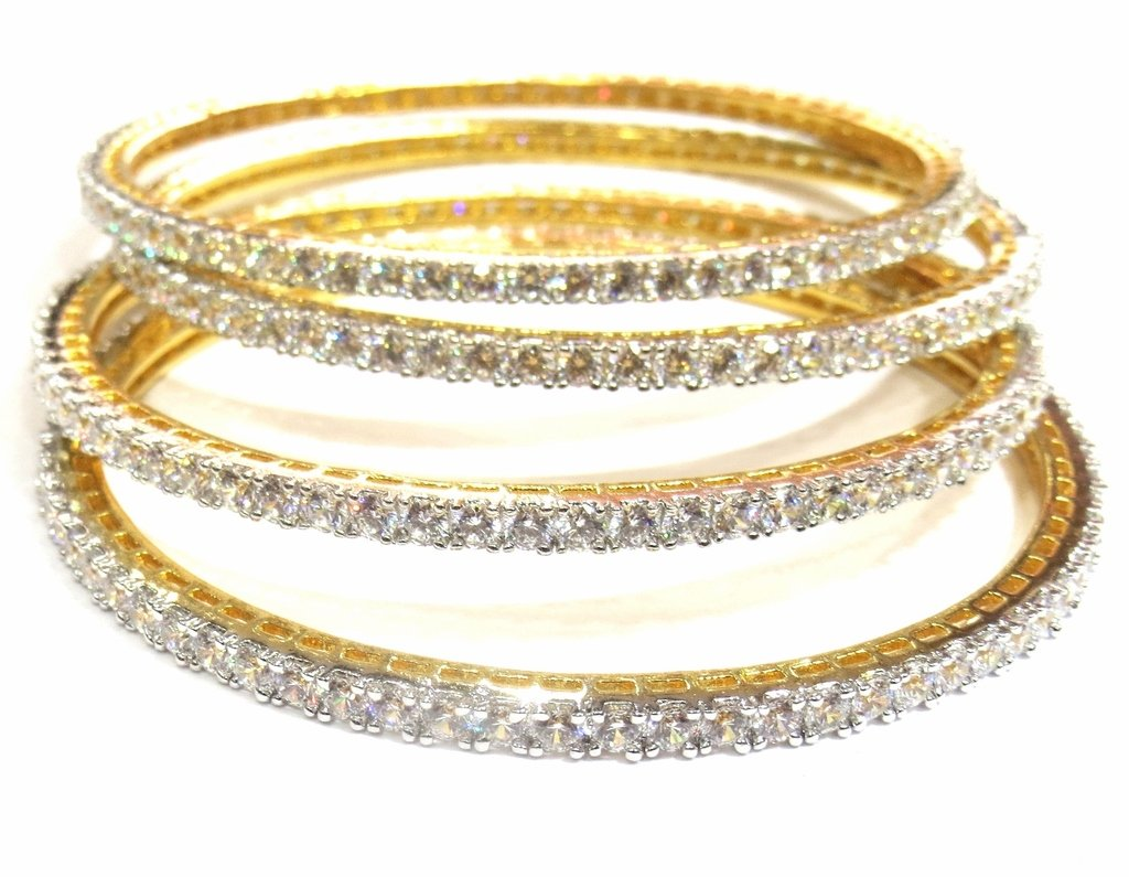Jewelshingar Jewellery Fine Rhodium Gold Plated Bangles For Girls ( 29356-jb-2.8 )