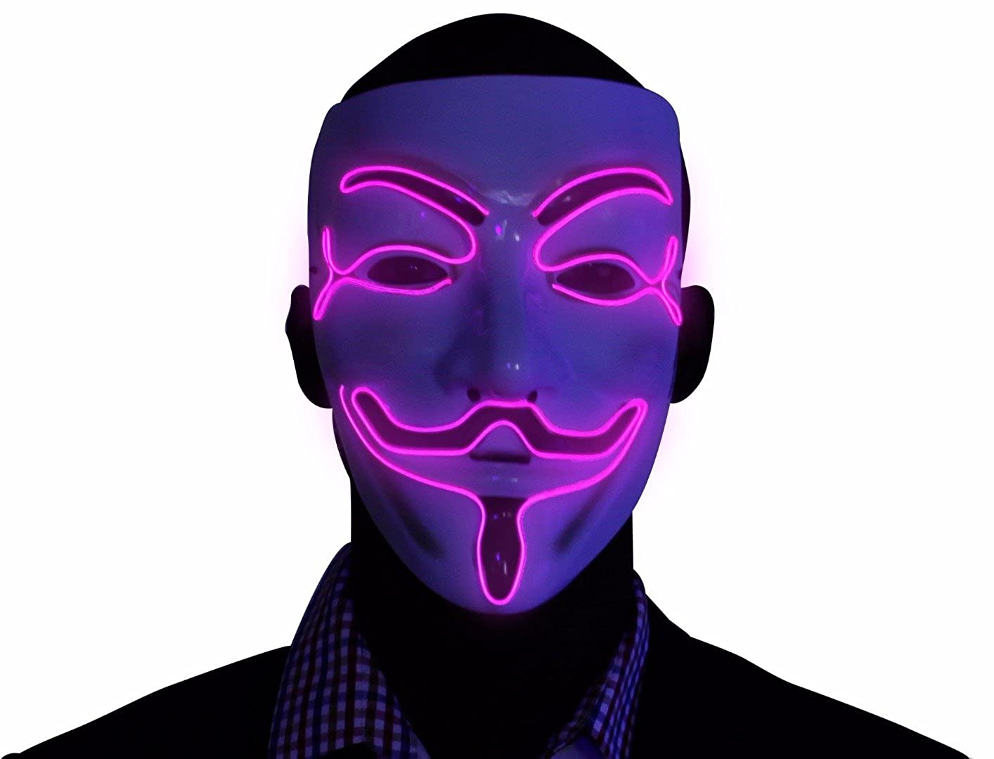 Kandi Gear Light Up V for Vendetta Mask Anonymous Mask for Rave Glow EL Wire LED Guy Fawkes Mask
